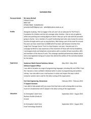 james birchall curriculum vitae