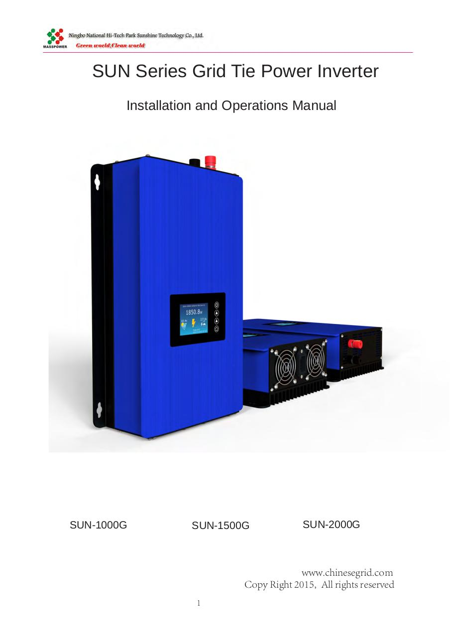 User Manual for Solar Grid Tie Inverter.pdf - page 1/27
