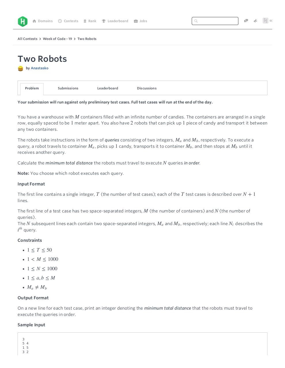 Two Robots Challenge Week of Code 19 HackerRank - PDF Archive
