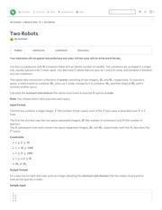 two robots challenge week of code 19 hackerrank