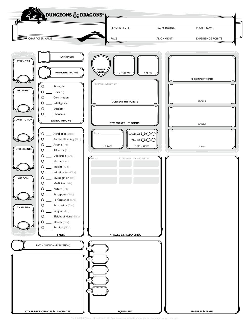 Document preview Character Sheet - Form Fillable.pdf - page 1/1