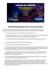 teilnahmebedingungen gamer days gewinnspie