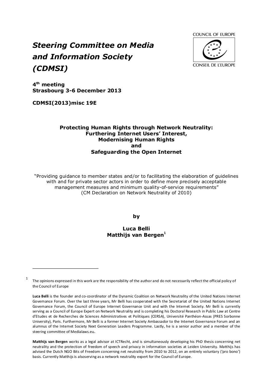 Preview of PDF document report-belli-van-begren-net-neutrality-cdmsi-2013.pdf - Page 1/54