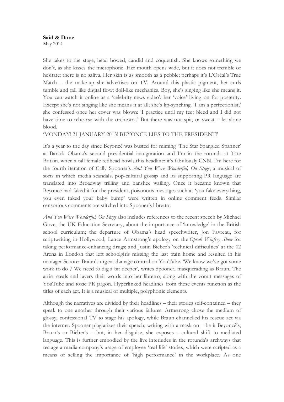Document preview Said & Done - Cally Spooner - frieze.pdf - page 1/4