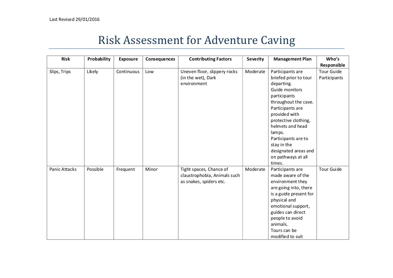 Document preview Risk Assessment for Adventure Caving 2016.pdf - page 1/5