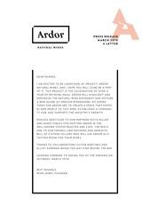 ardor press release 3 9 16