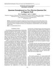 quantum entanglement quantum dot magnetic field