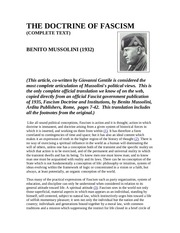 the doctrine of fascismmussolini