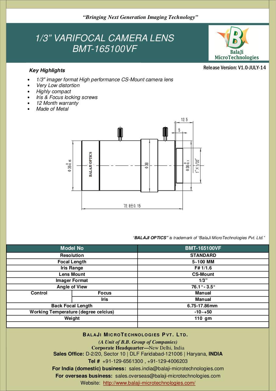 BalaJi MicroTechnologies BMT 165100VF - BMT-165100VF-5~100