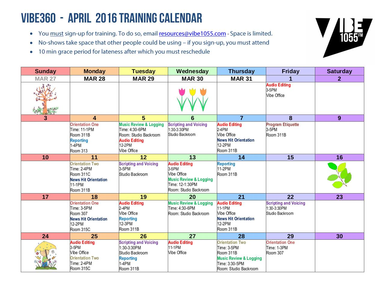 Document preview APR 2016 VIBE TRAINING CALENDAR.pdf - page 1/1