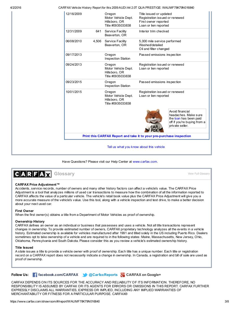 CARFAX Vehicle History Report for this 2009 AUDI A4 2.pdf - page 3/8