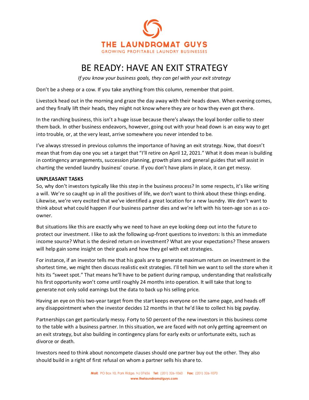BE READY HAVE AN EXIT STRATEGY.pdf - page 1/2