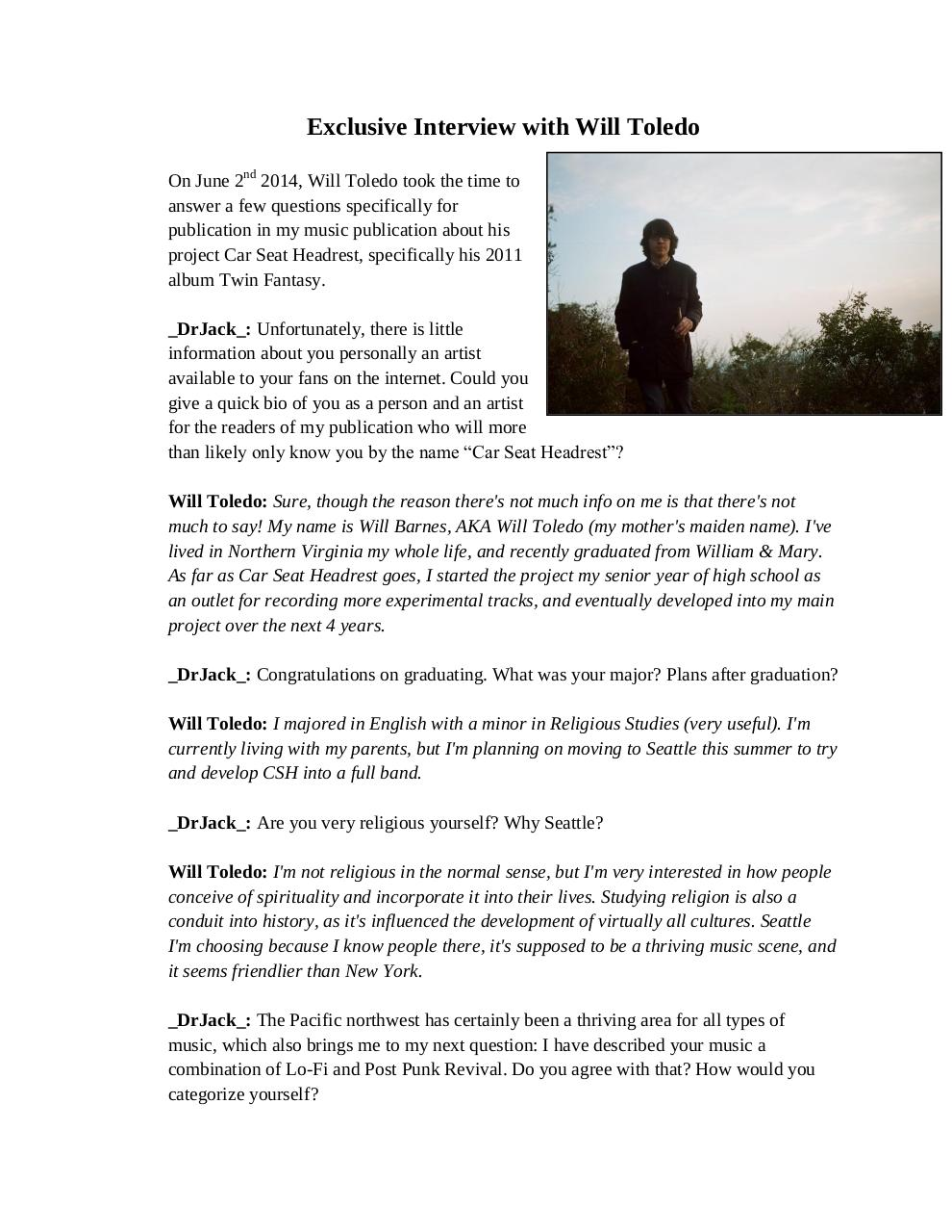 Exclusive Interview with Will Toledo 2014.pdf - page 1/5