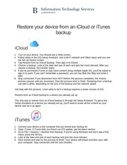 PDF Document restore your device from an icloud or itunes backup