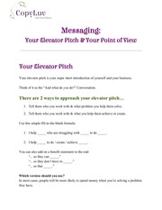 PDF Document messaging your pov elevator pitch