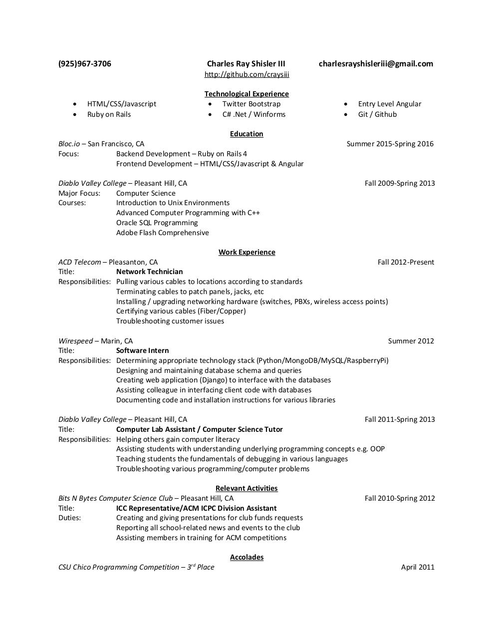 Document preview Resume_Charles-Shisler.pdf - page 1/1