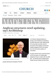 anglican structures need updating says archbishop