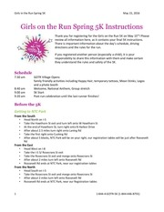 girls on the run spring 5k instructions s16