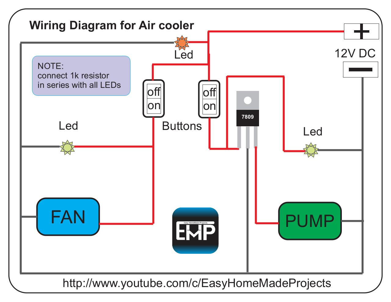 wiring cdr wiring diagram for mini air cooler pdf pdf archive wiring diagram for air cooler 12v dc led note connect 1k resistor in series all leds off on off on 7809 led fan buttons led pump