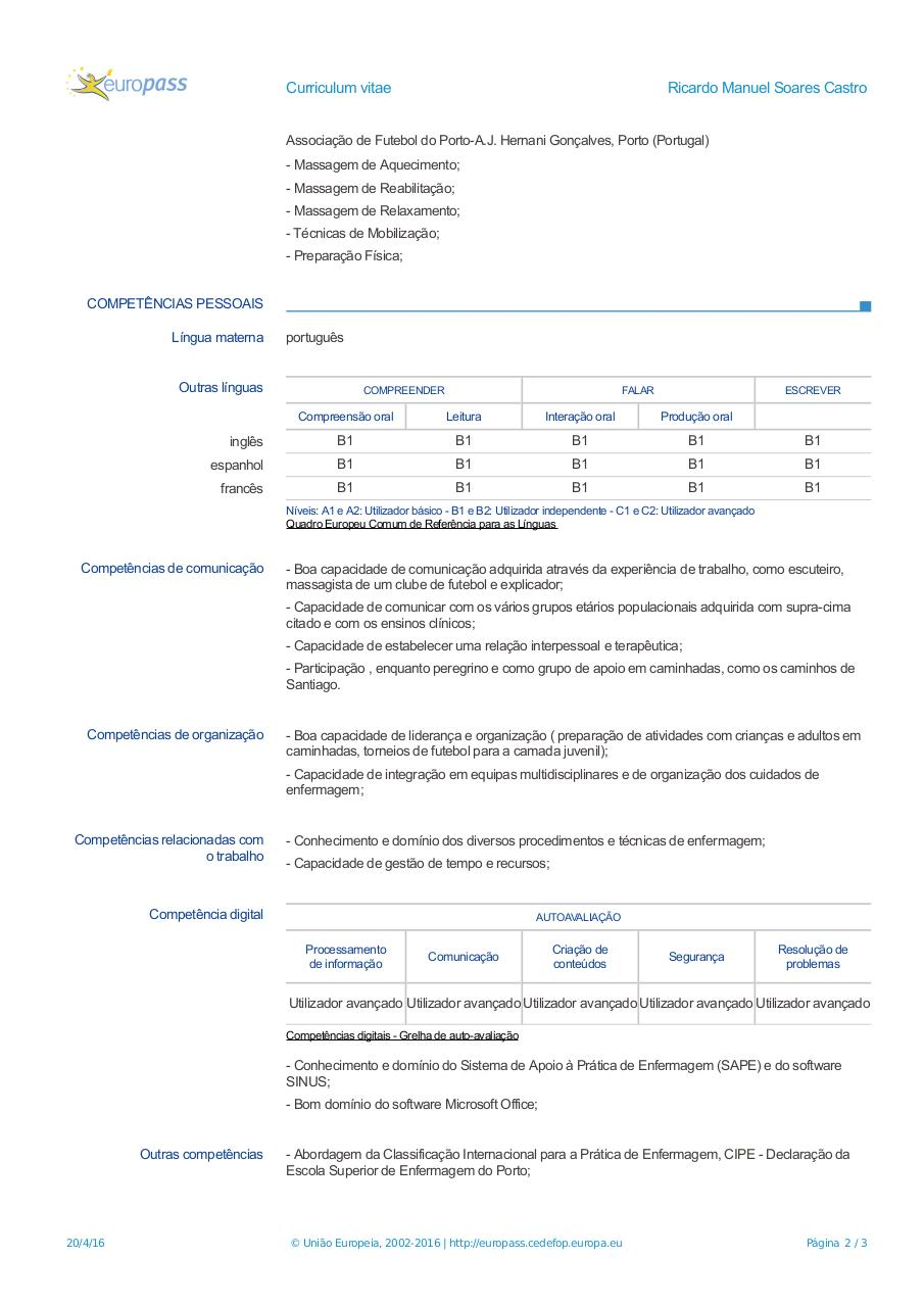 Document preview CV-Europass-20160420-SoaresCastro-PT (1).pdf - page 2/3