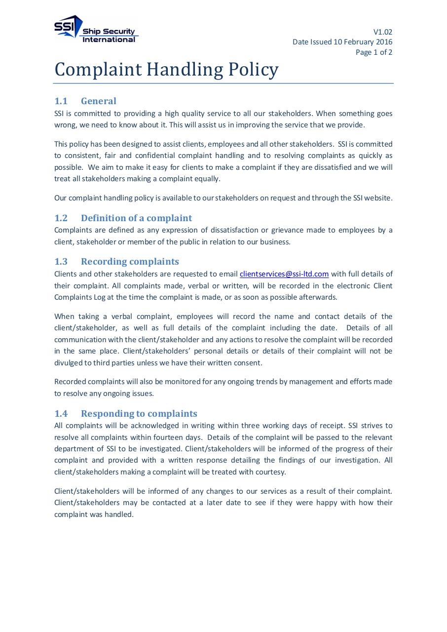 Document preview Complaint Handling Policy v1.02.pdf - page 1/2
