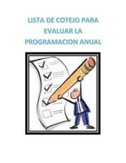 lista de cotejo para evaluar la programacion anual