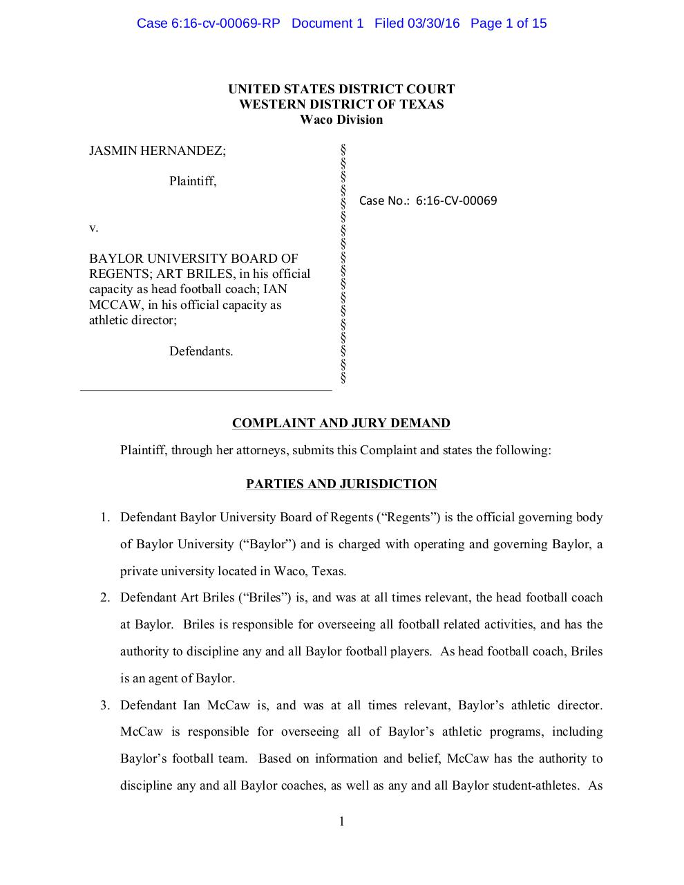 Baylor Lawsuit.pdf - page 1/16