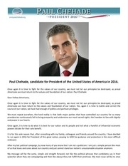 1 paul chehade candidate for president of the us in 2016