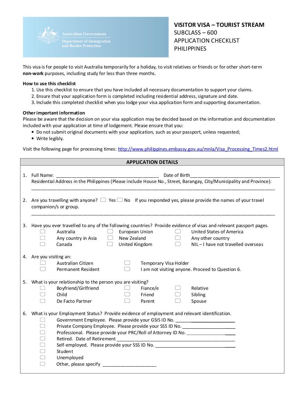 Pdf document updated 600 tourist stream checklist 24 06 for Documents checklist visa 600