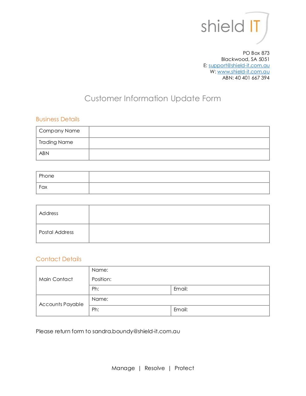 Customer information update form by user customer for Update contact information form template