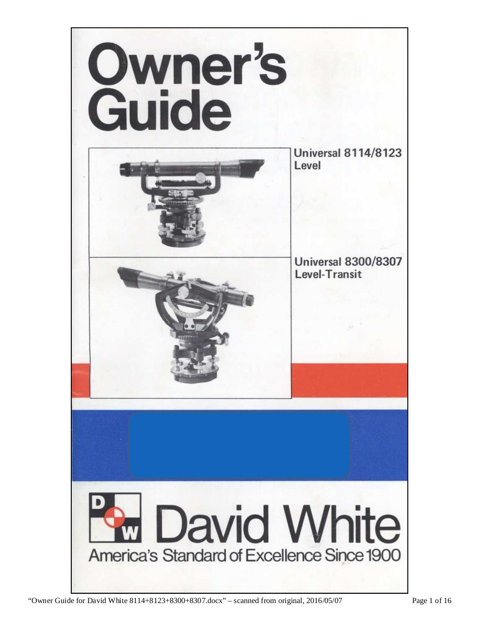 owner guide for david white 8114 8123 8300 8307 by user david rh pdf archive com david white transit 8300 manual david white transit 8080 manual
