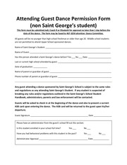 attending guest dance permission form