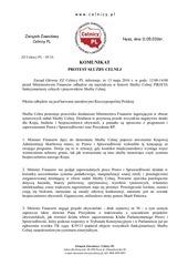 celnicy85 16 komunikat protest s u by celnej 13 maja