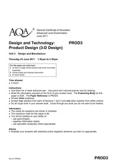 aqa prod3 questionpaper 2011