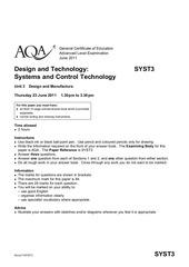 aqa syst3 questionpaper 2011
