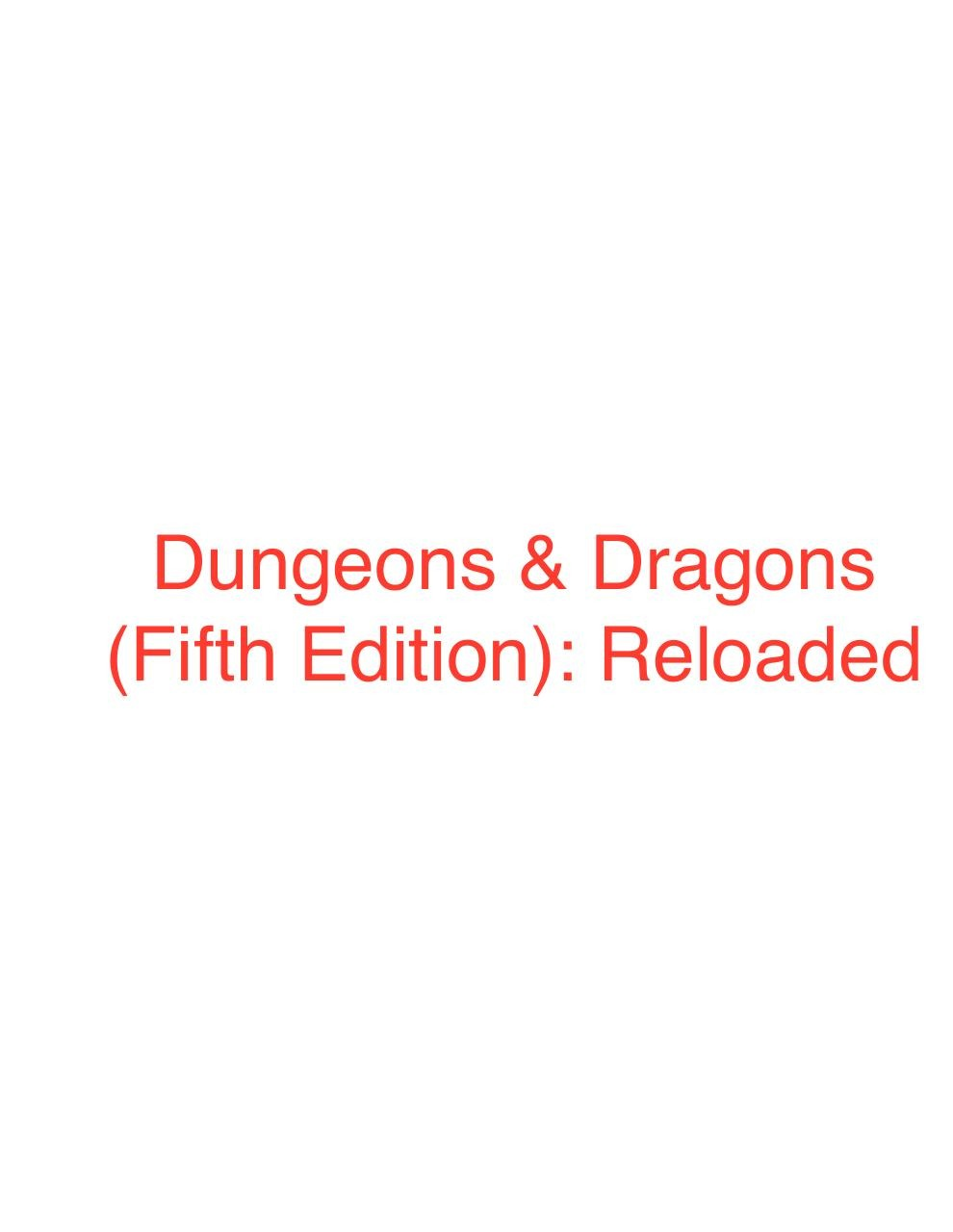 D&D 5E Reloaded - PDF Archive