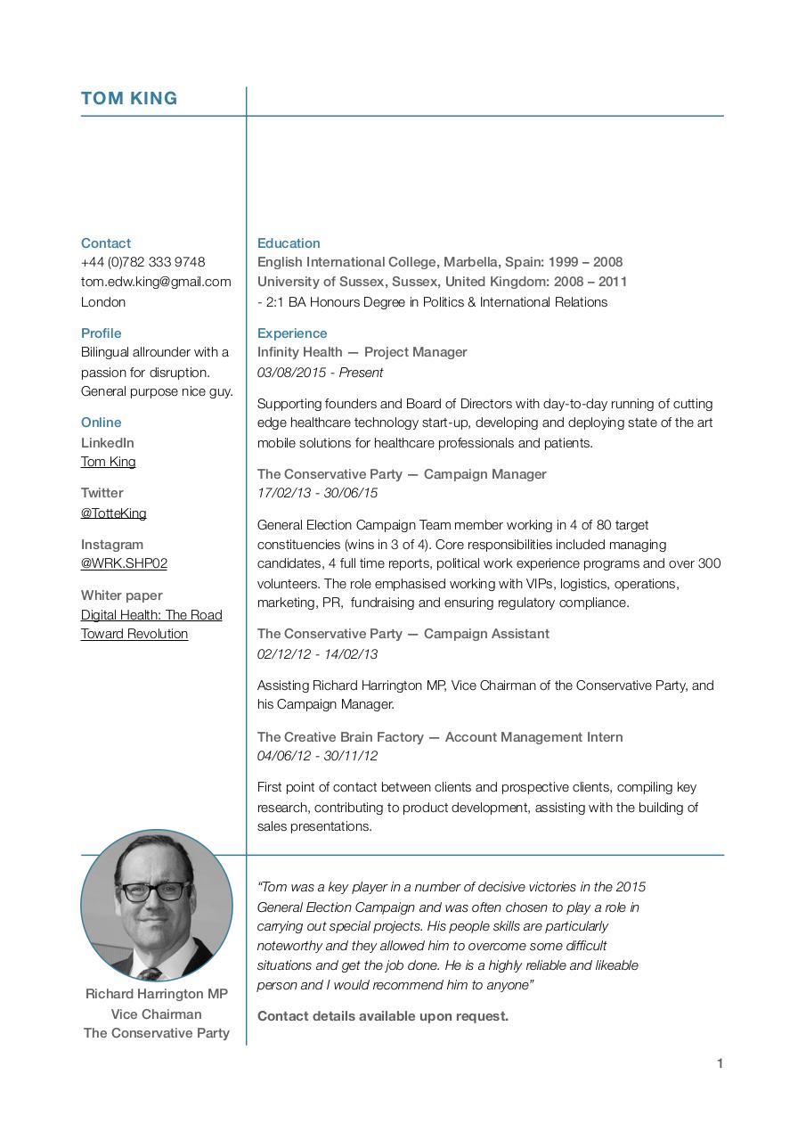 Document preview Tom King CV.pdf - page 1/2