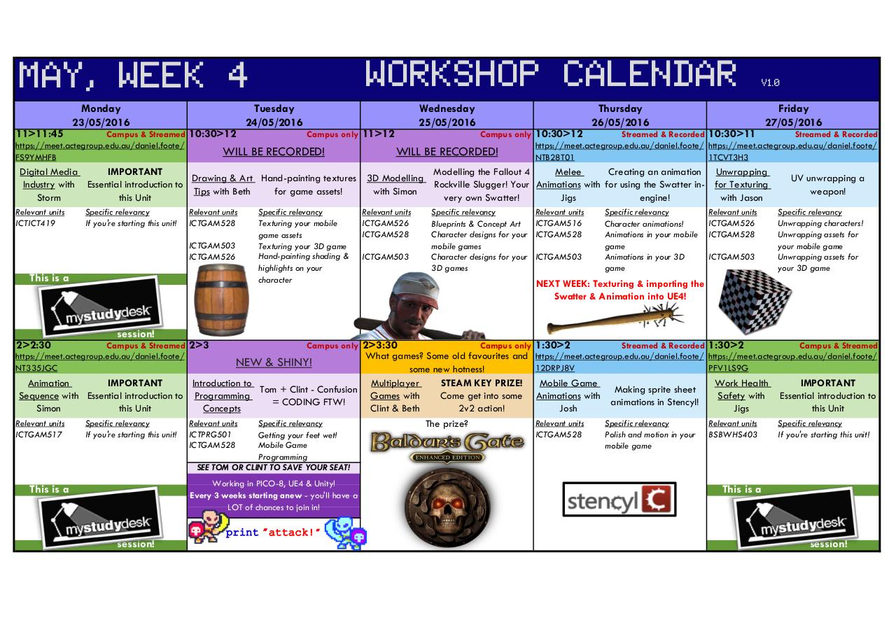 Document preview May Week 4 Workshop Calendar V1.0.pdf - page 1/1