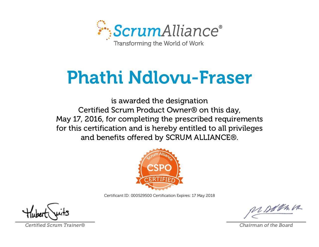 cspo pdf certificate ndlovu scrumalliance fraser scrum owner certified documents related