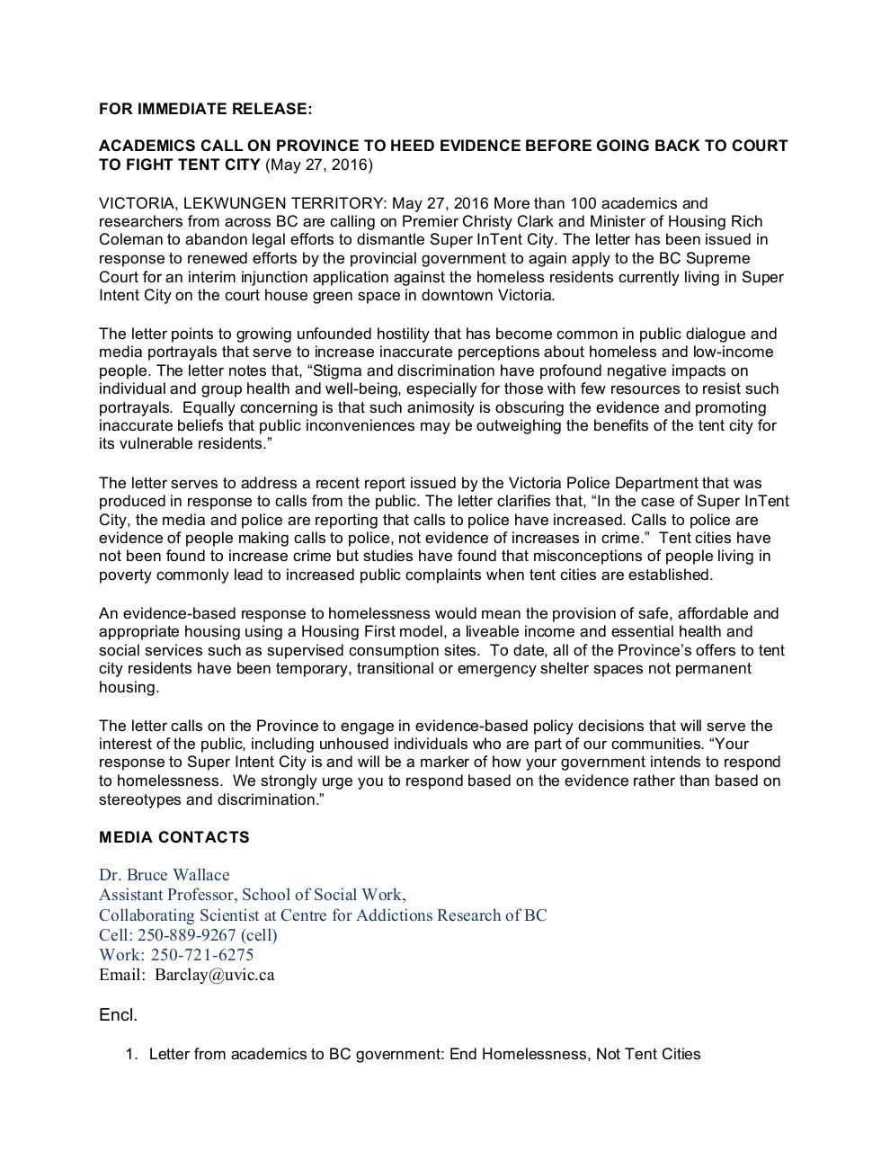 Press Release - End Homelessness, Not Tent Cities.pdf - page 1/10