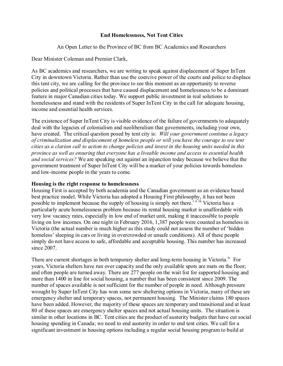 Press Release - End Homelessness, Not Tent Cities.pdf - page 2/10