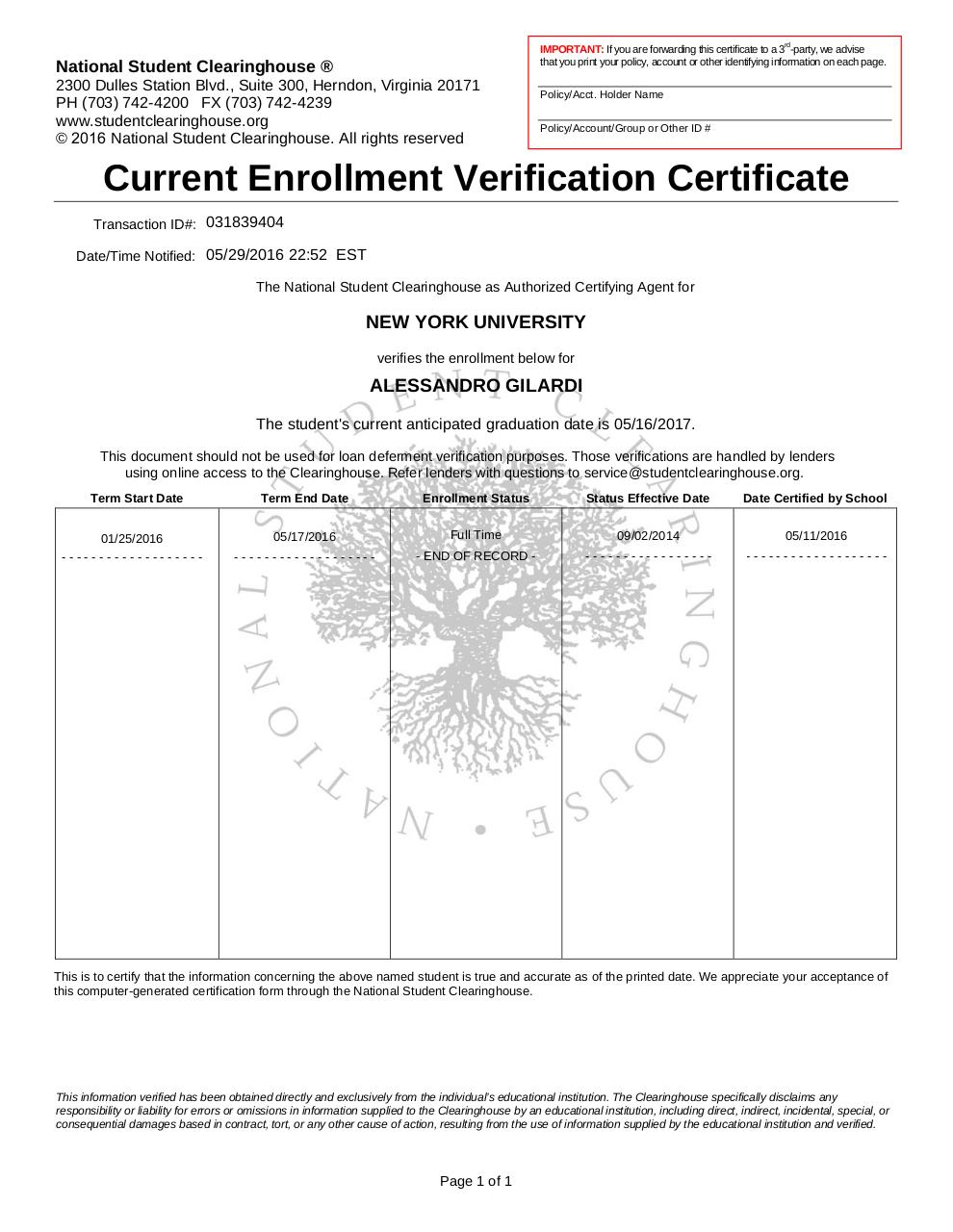 Document preview EnrollmentCertificate.pdf - page 1/1