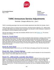 tarc service adjustments 6 2016 media release rg 1