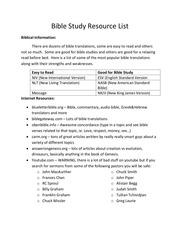 bible study resource list