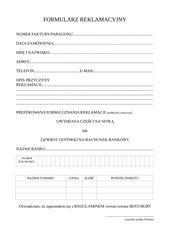 formularz reklamacyjny