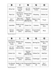 boring cars bingo