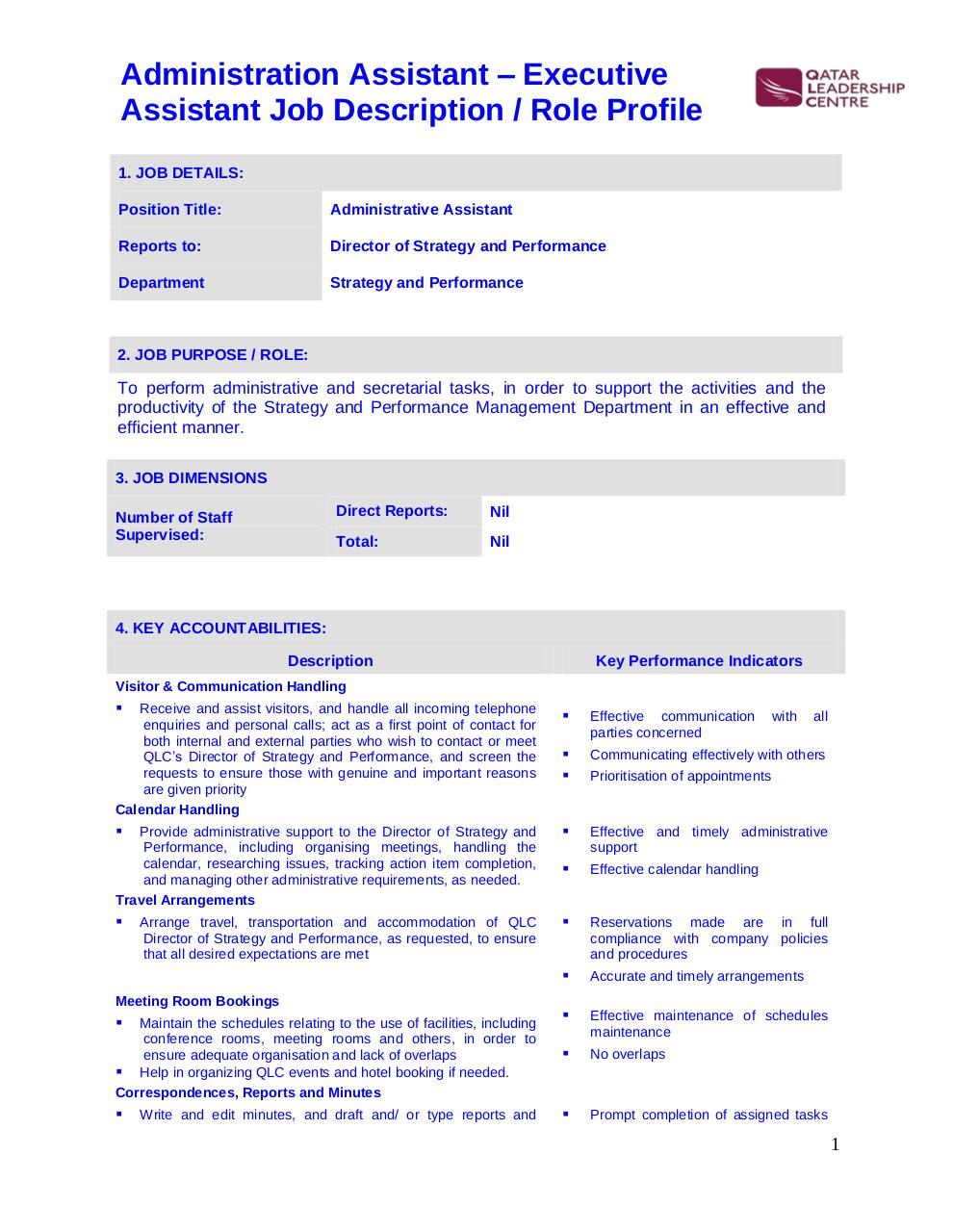 Document preview 160622 QLC Admin Assistant.pdf - page 1/2