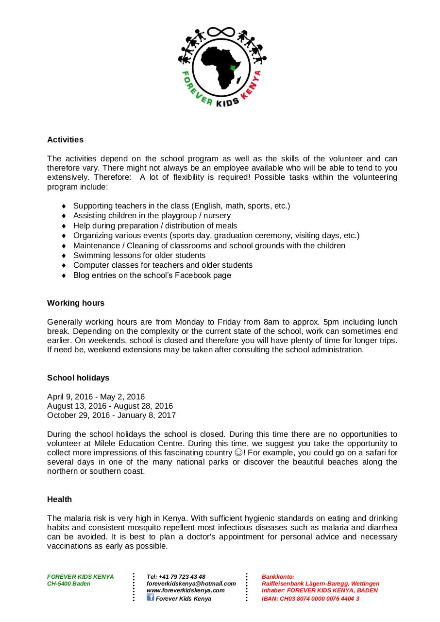 Document preview Forever Kids Kenya - Volunteering Program_2016_ENG.pdf - page 2/5