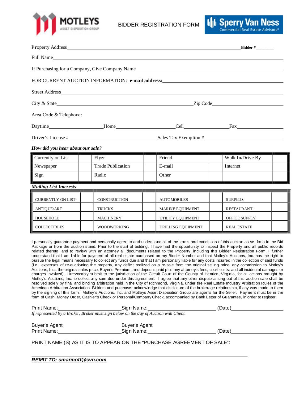 Auction Registration Form Template