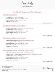 sam hamdy photography 2016 packages